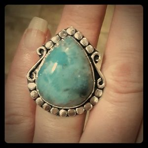New Natural Larimar Silver Ring. Size 6